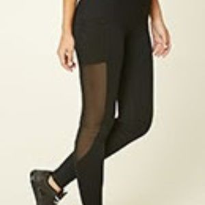 Forever 21 Active Mesh-Panel Pocket Leggings